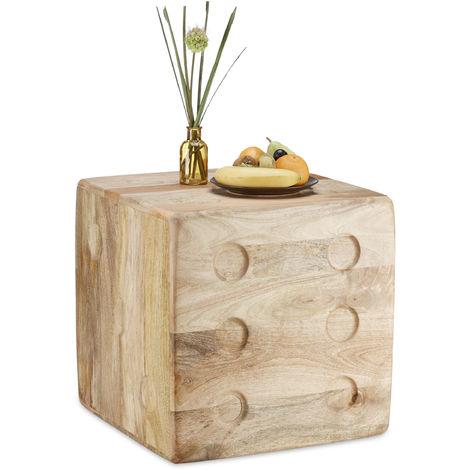 Tavolino salotto a cubo, legno di mango, Sgabello decorativo a forma ...