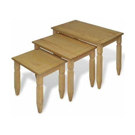Tavolini In Legno Per Salotto.Tavolino Salotto Set 3 Pz Tavolini In Legno Masselo Di Pino