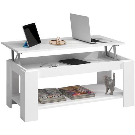 Tavolino Salotto Apribile.Tavolino Soggiorno Con Rialzo Contenitore Tavolo Salotto Moderno Apribile Bianco