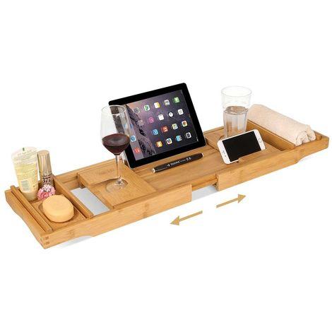 Tavolino Vassoio Vasca Bagno Regolabile Legno Bambu Supporto Tablet