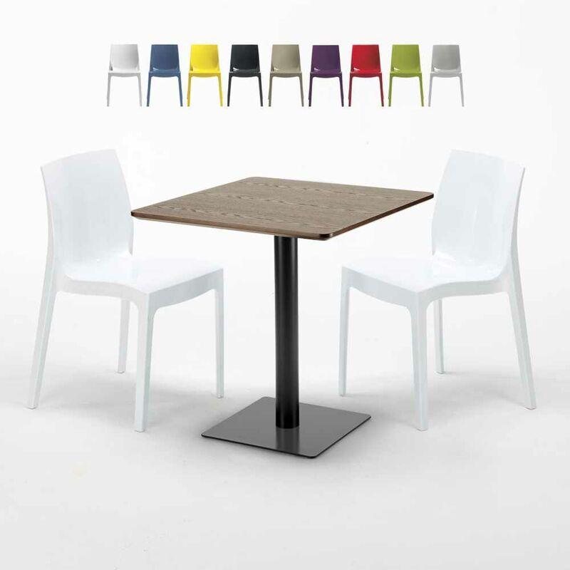 Table carrée 60x60 pied noir et plateau bois avec 2 chaises colorées Ice Kiss | Blanc