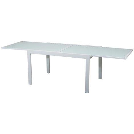Tavoli Allungabili In Alluminio.Tavolo Allungabile Alluminio Bianco Piano In Vetro Temperato