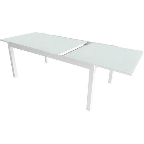Tavolo Allungabile Alluminio E Vetro.Tavolo Allungabile Da Giardino In Alluminio Piano In Vetro Vorghini Pietra Ligure Bianco