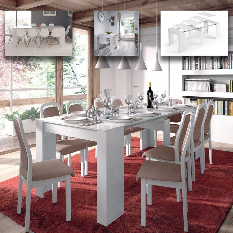 Tavolo allungabile fino a 237 cm consolle per soggiorno cucina BIANCO  LUCIDO in melamina 50 X 90 X 78 H cm. Flora