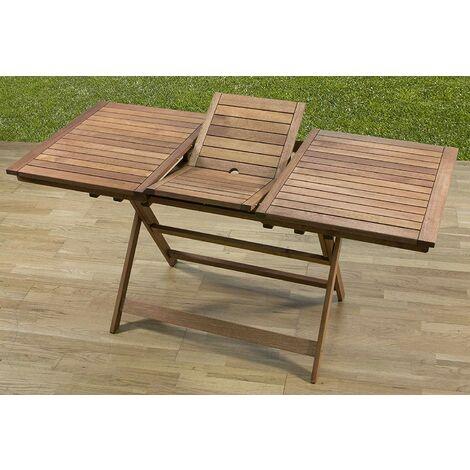 Tavolo allungabile in legno meranti 120-160x70x73h arredo esterno - I  Giardini Del Re