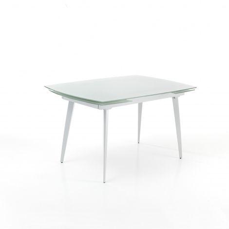 Tavolo allungabile momo 120 di tomasucci con piano in vetro e struttura in metallo disponibile in due finiture