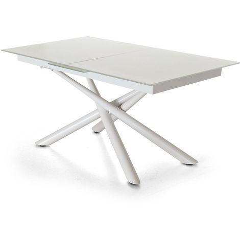Tavolo Bianco Design.Tavolo Allungabile Piano In Vetro Bianco Laccato Gambe In Metallo Design Blade