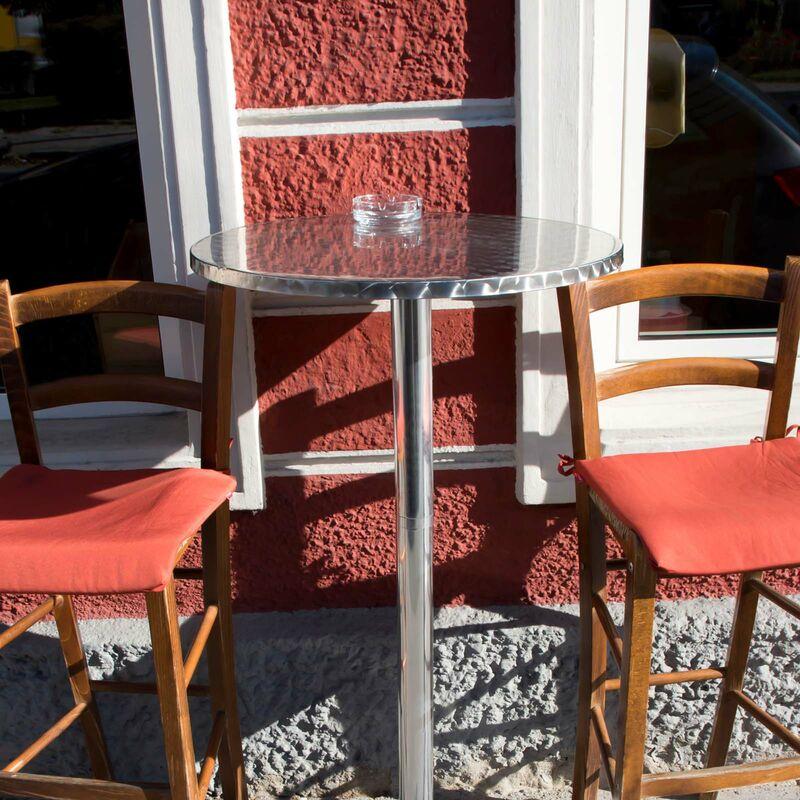Altezza Tavolo Per Sgabelli.Tavolo Alto Da Bar Rotondo Alluminio Altezza Regolabile 70 110 Cm