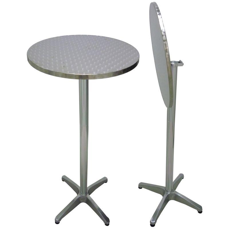 Altezza Tavolo Per Sgabelli.Tavolo Alto Tondo Pieghevole In Alluminio Grigio Antiruggine Diam