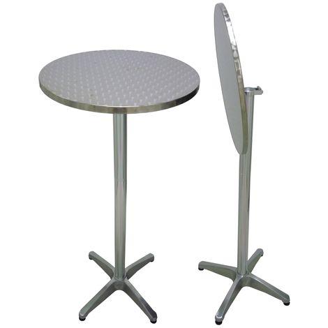 Tavoli Da Bar Per Esterno.Tavolo Alto Tondo Pieghevole In Alluminio Grigio Antiruggine Diam