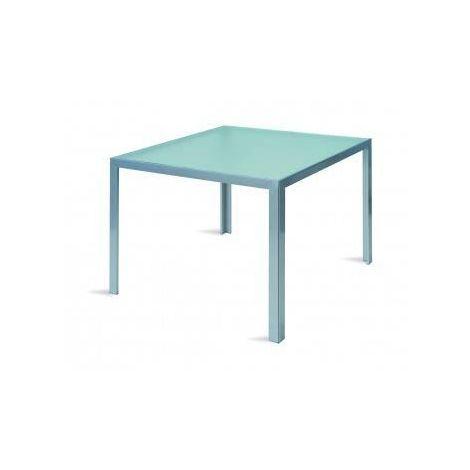 Tavolo Amalfi in alluminio e piano in vetro temperato - argento - STY 11