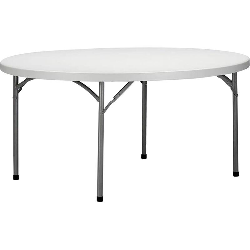Tavolo catering rotondo in metallo e abs bianco diametro for Gambe pieghevoli per tavoli fai da te