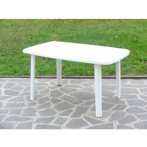 Tavolo in resina plastica rettangolare da giardino per esterno Bianco 101x68x72h