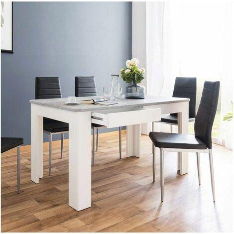 Tavolo con Cassetti 140 x 80 Cemento Bianco Cucina da Pranzo Moderno da  Salotto