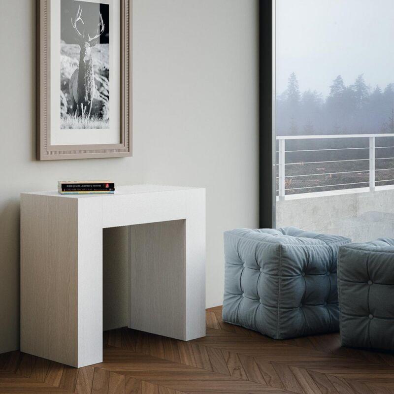 Tavolo Consolle Allungabile Bianco.Tavolo Consolle Allungabile Box Bianco Frassino L90 Bianco