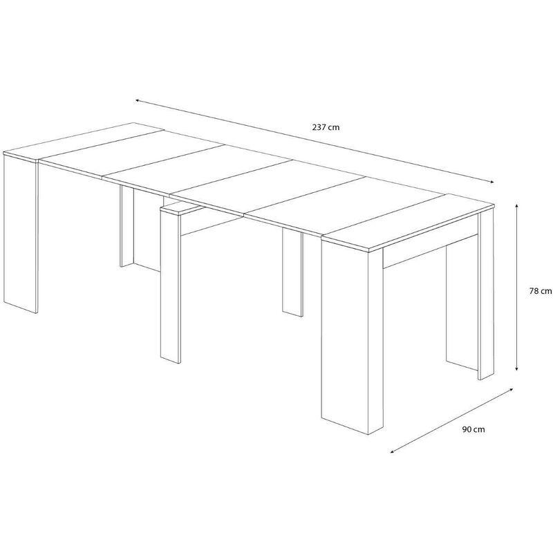 78 x 51 x 90 cm Tavolo 10 Posti Salvaspazio Multiposizione Tavolo Consolle Allungabile Oslo Fino A 2.37 Metri Colore Rovere Grigio Design Moderno Ed Elegante Consolle Per Casa E Ufficio