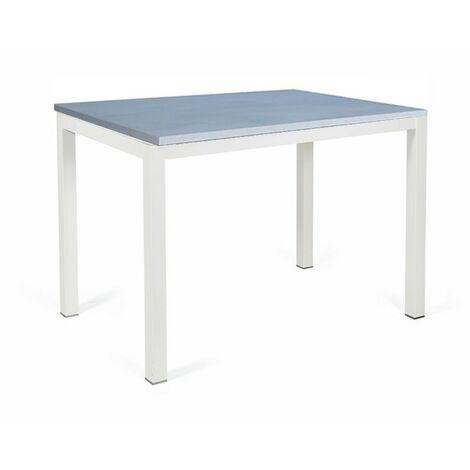 Tavolo cucina allungabile legno grigio gambe acciaio bianco 70x110 cm