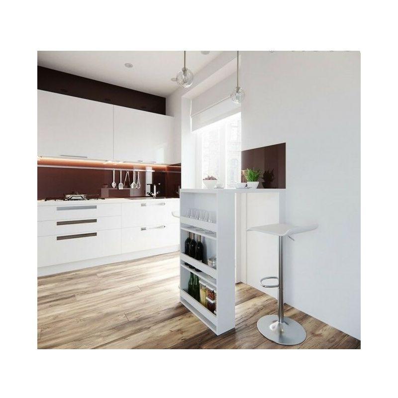 Tavolo da Bar Cucina Moderno con 3 Ripiani Portabottiglie 80x57x106H
