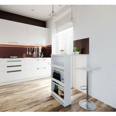 Cucina Moderna Con Tetto In Legno.Tavolo Da Bar Cucina Moderno Con 3 Ripiani Portabottiglie 80x57x106h