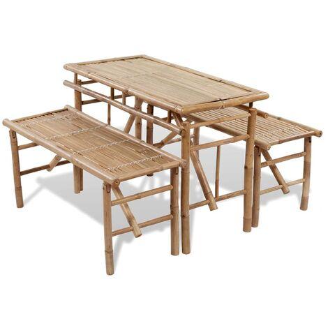 Tavolo da Birreria con 2 Panchine 100 cm in Bambù