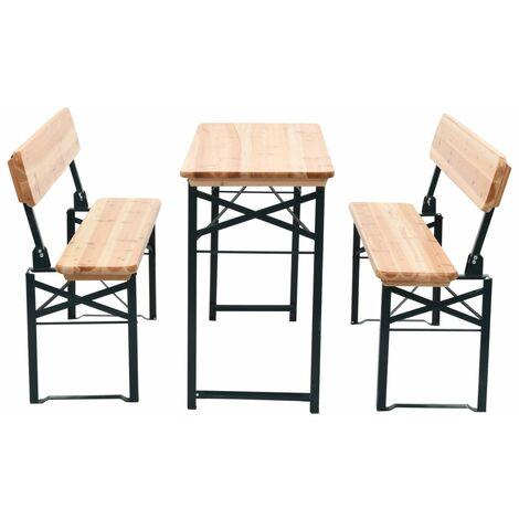 Tavolo da Birreria Pieghevole 2 Panchine 118 cm Legno di Abete