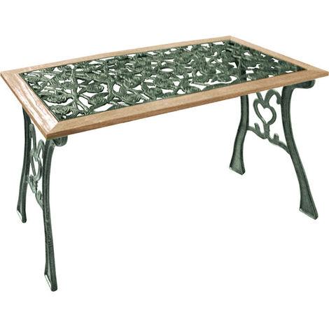 Arredamento Tavolo Da Giardino.Tavolo Da Giardino 112x50 H 60 Cm Ghisa E Legno Verde Arredo Esterno