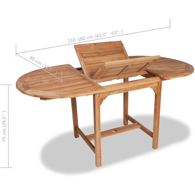 Tavolo Da Giardino Teak.Tavolo Da Giardino Allungabile 110 160 X80x75cm Teak Massello