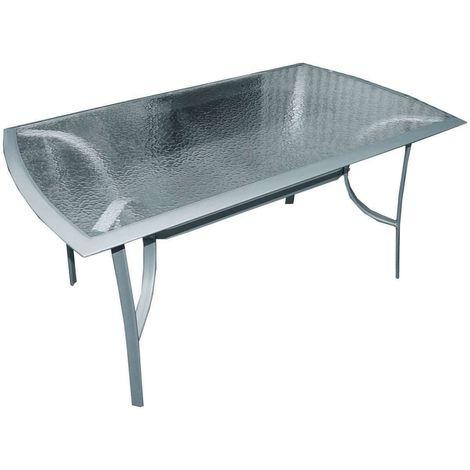 Tavoli In Metallo Da Giardino.Tavolo Da Giardino Da Esterni Telaio In Metallo E Piano In Vetro 150x90x71 Cm