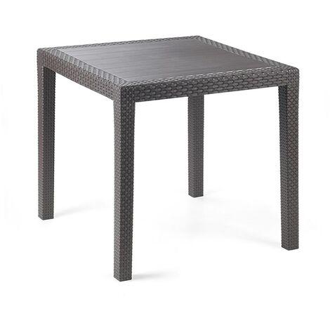 Tavolo quadrato in resina effetto rattan antracite ...