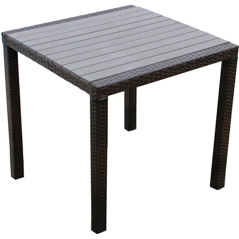 Tavoli Da Esterno Rattan Sintetico.Tavolo Da Giardino Moderno Di Design Cm 80 X 80 Marrone In Wicker