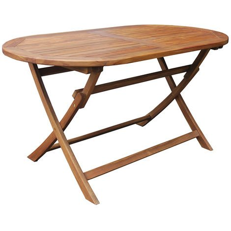 Tavolo Di Legno Pieghevole.Tavolo Da Giardino Ovale In Legno Teak Pieghevole