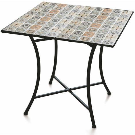 Tavolo Con Mosaico Da Giardino.Tavolo Da Giardino Quadrato 83x83 Cm In Ferro Con Mosaico Soriani Rodi