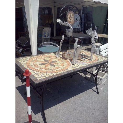 Tavolo Da Giardino Ferro Battuto.Tavolo Da Giardino Rettangolare Con Mosaico In Ferro Battuto Cm