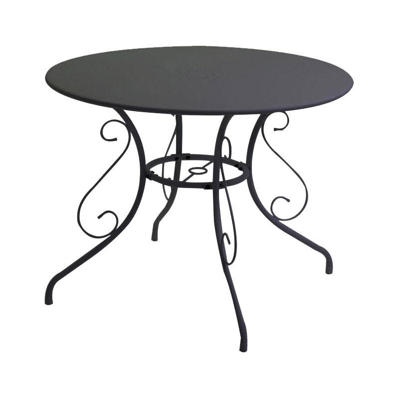 Tavolo tondo da giardino in ferro color grigio antracite