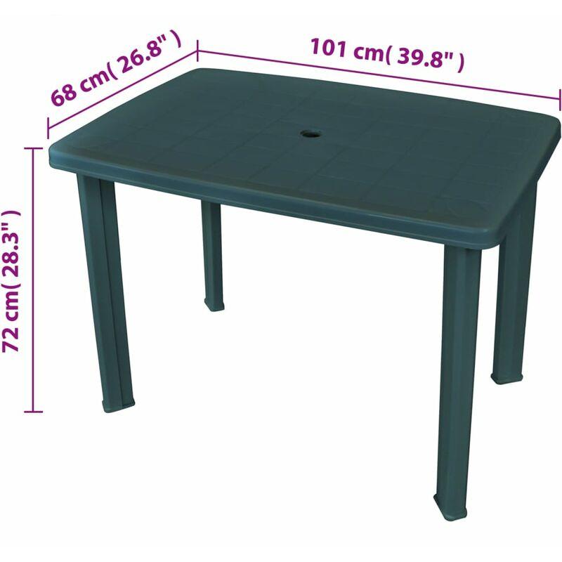 Tavolo da giardino pieghevole in plastica colore: Verde VidaXL 79 x 72 x 70 cm