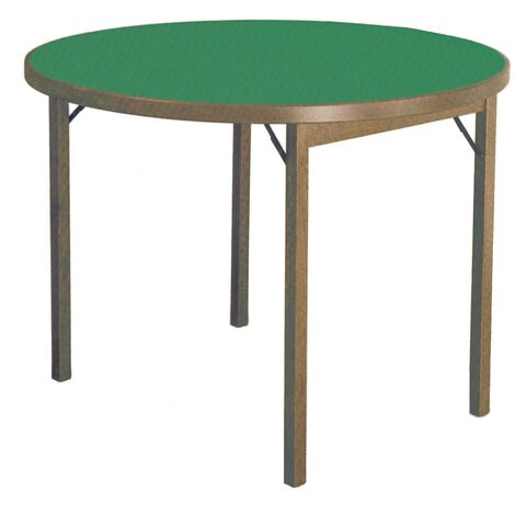 Tavolo Tondo 100 Cm.Tavolo Da Gioco Rotondo Pieghevole A 100 Cm In Legno Panno Verde