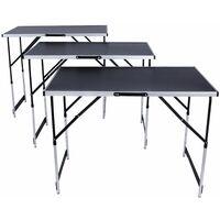 tavolo da lavoro in alluminio, 3 pezzi - nero