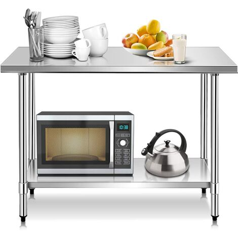 Tavolo da Lavoro Multifunzione in Acciaio, Ideale per Supermercato, Ristorante e Negozio, 122 x 61 x 90 cm, Argento