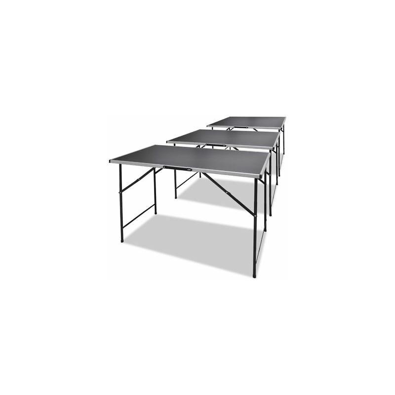 Tavoli Pieghevoli Da Lavoro.Tavolo Da Lavoro Pieghevole Set 3 Pezzi 100 X 60 X 82 Telaio In Alluminio Nero