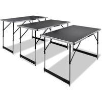 Tavolo da Lavoro Set 3 pz Pieghevole Altezza Regolabile