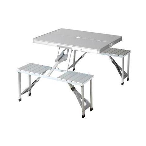 Tavolo In Alluminio Da Campeggio.Tavolo Da Picnic Per Campeggio Portatile Camper Con 4 Sedie Posti