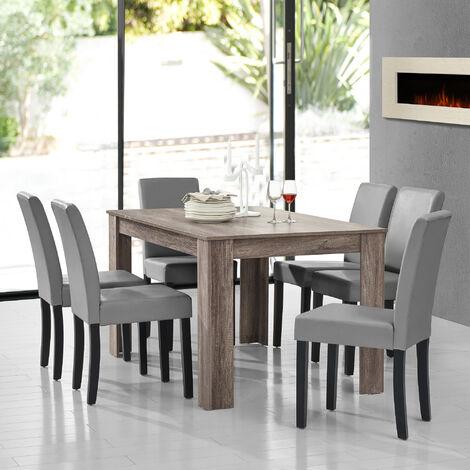 en.casa] Tavolo da pranzo chiaro con 6 sedie grigio scuro