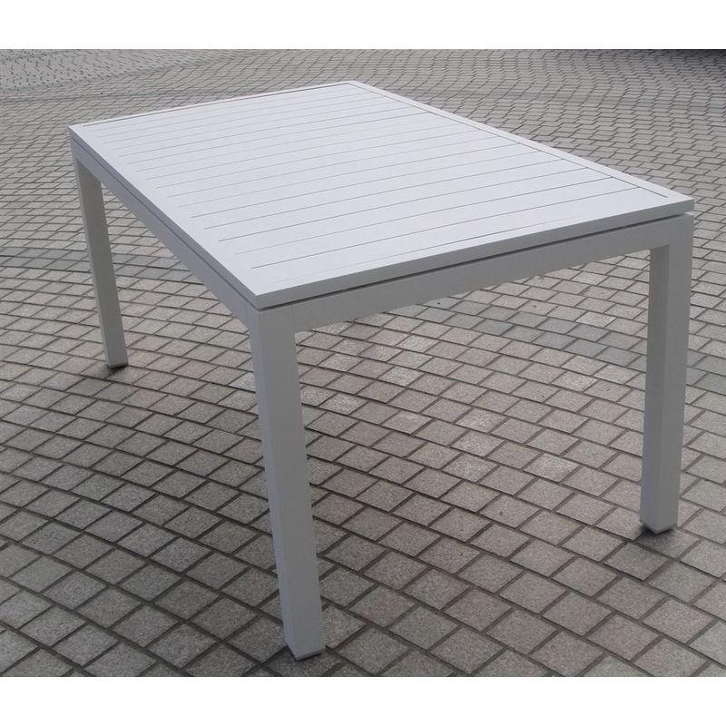 Tavoli Da Esterno Alluminio Prezzi.Tavolo Da Pranzo Barrel Allungabile Alluminio A Doghe Colore Bianco