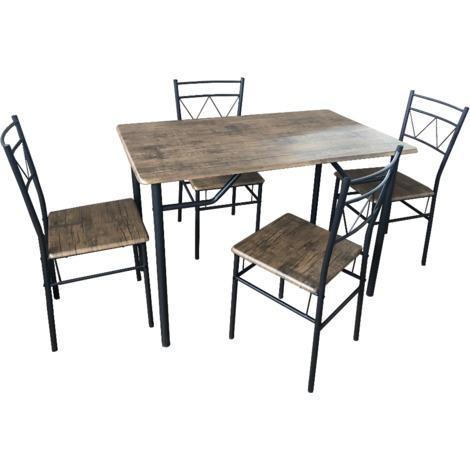Tavolo da pranzo con 4 sedie in legno marrone per cucina