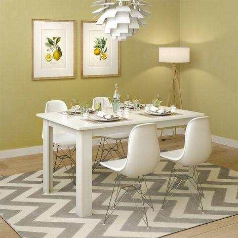 Tavolo da pranzo cucina in legno tavolo sala da pranzo moderno 140x90x77  colore: bianco