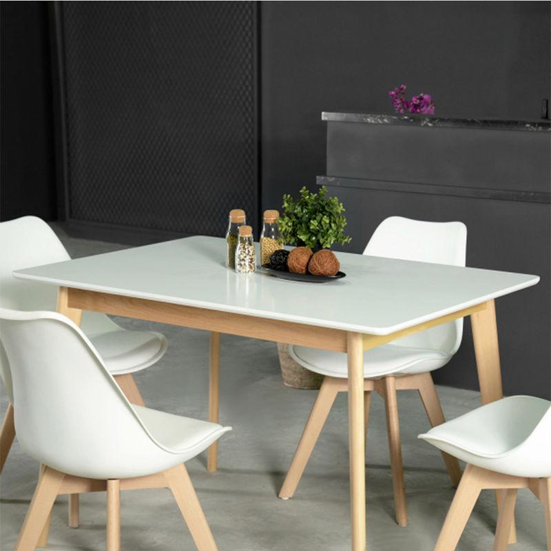 Tavolo Da Pranzo Design Moderno Rettangolare MDF Gambe in Legno ...