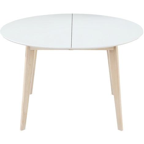 Tavolo Tondo Allungabile In Legno.Tavolo Da Pranzo Design Rotondo Allungabile Bianco E Legno L120