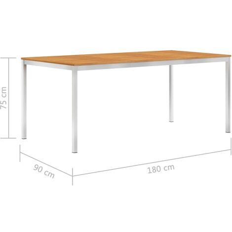 Tavolo Da Pranzo Giardino 180x90x75cm Legno Acacia Acciaio Inox