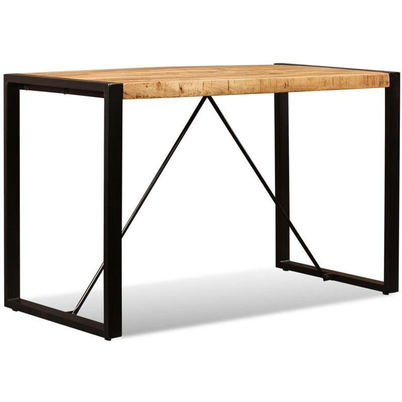 Tavolo da Pranzo in Legno Massello di Mango Grezzo 120 cm