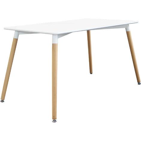 Tavolo Bianco 120 X 80.Tavolo Da Pranzo Moderno Di Design Fisso Cm 120 X 80 In Abs Bianco Con Gambe In Legno Per Interno Sala Da Pranzo